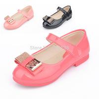 Free shipping summer girl PU diamond bowtie non-slip rubber sole anti-skid soft bottom comfortable princess sandal Flat sandals