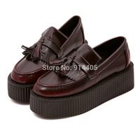 Women's Harajuku Creepers Platform Flats Shoes Autumn New 2014 Fashion Brand Retro Tassels Leather Punk Sapatos Femininos Shoes