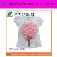 pink flower top birthday blouse for children girls flower T-shirt