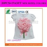 pink flower top birthday blouse for children girls flower T-shirt