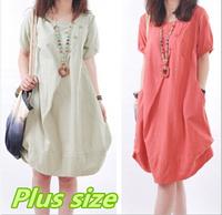 4 color Plus size Clothing Women Candy Color Linen Blend Casual Cotton Dresses Woman Loose Cute Summer knee-length Dress 2014