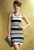 Women Fashionable Black White Striped Tank Bandage Dress