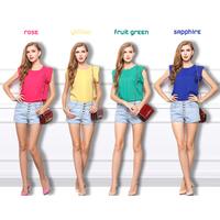 SZ041 Fashion Women 2014 S&Z Women Round Neck Short Sleeve Chiffon Blouse&Shirt,Yellow,Blue,Red,Apple Green Summer Tops&Blouses