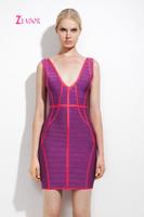 Celebrity Accessories Carpet V Neck Backless Bandage Dress Top Quality
