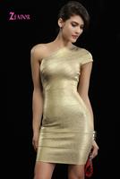 Egypt Queen Luxury Gold One-shoulder Bandage Evening Dress