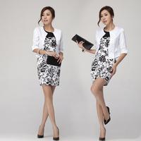 Korean Occupation OL Slim Vest Dress Skirt Suits Fake Two-Piece Dress Women Work Wear WInter Dress Skirts GE537
