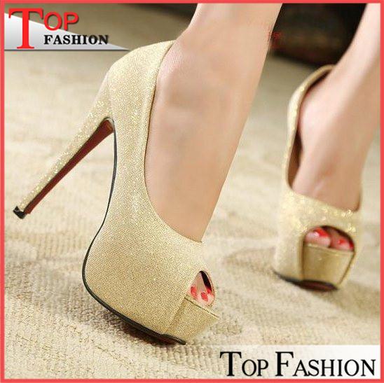 Plus size 34-44 New Summer Women's shoes 14 CM Fashion Platform Open toe Red bottom Sexy High-heeled shoes Peep toe Glitter(China (Mainland))