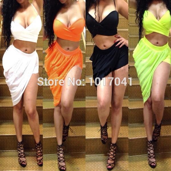 New 2014 Womens Celebrity Bandage Bodycon dress, Ladies sexy party club dresses, Sleeveless 2 piece dress nightclub clothing(China (Mainland))