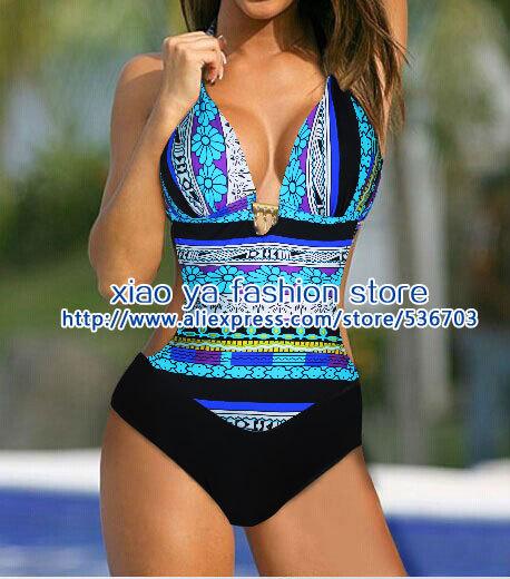 sexy exotische böhmen blau monokini badeanzug einteiler bademoden größe M L XL versandkostenfrei versenden innerhalb von 24 Stunden