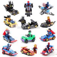 2014 New High Quality Super Hero mini figure Revenger w/ vehicle 12pcs/lot No box building blocks toy birthday gift Free Ship