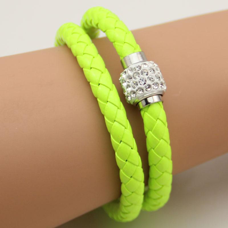 New 2014 Fashion Magnetic Clasp Multilayer Leather Bracelets & Bangles Rhinestone Beads Ball Women Bracelets For Men Unisex Hot(China (Mainland))