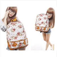 Floral canvas shoulder bag fashion casual women's printing backpack Cute Flowers Book Satchel Campus Bag Women Schoolbag
