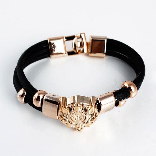 colorful Fashion New Style Animal/ Leopard Head Leather Chain Bracelets & Bangles women jewelry(China (Mainland))