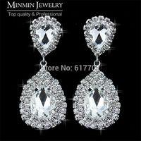 Original Design Teardrop Crystal Bridal Silver Long Earrings for Women Imitated Gemstone Jewelry 107