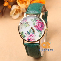 PU Leather Strap Beautiful Rose Flower shape Dial Super Design Casual Geneva brand Wrist Watches Women,students, Girls G-8003