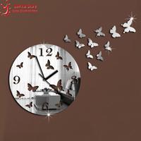New 2014 Wall Clock Modern Design Luxury Mirror Wall Clock 3D Crystal Mirror Wall Watches Wall Clocks 11 Butterflies