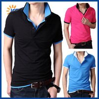 Hot Sale 2014 New Style Mens Polo Shirt Short Sleeve Cotton Slim Fit Casual Checked Polos Men Tops Free Shipping