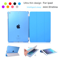 Free shipping 1 Pair/lot PU Leather Slim Magnetic Front Smart Cover Skin +Hard PC Back Case For ipad mini &ipad mini 2 retina