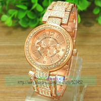 50pcs/lot Luxury Geneva Logo Stainless Steel Watch Fashion Ladies Crystal Dress Ladies Watch Excellent Alloy Watch 3colors