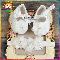 Ivory Christening Lace baby booties sapato bebe menina zapatillas festa baptism baby girl shoes Headbands set #2B1932 3 set/lot