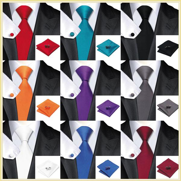 Men's 100% Jacquard Woven Silk Solid Neckties Tie handkerchief Cufflinks Sets for men Formal Wedding Party Groom Free Shipping(China (Mainland))
