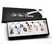 1 Box Handmade Christmas Wine Glass Charms Mixed Table Decorations W/ Box 50x25mm-57x25mm