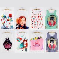 2014 New Summer Sleeveless Women Blouse O-Neck Fashion 8 Colors Printing  Vest Tank Tops Cheap Femininas Clothing  9416