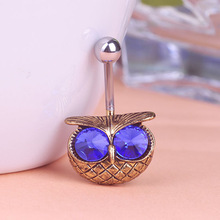 Illuminati Big Emerald Owl Piercing Navel Belly Button Rings Lingerie Sexy Body Jewelry Perfume for personality Gothic Vaz unhas