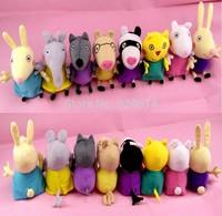 2014 New Peppa Pig Friends Peppa Pig Stuffed Animal Plush Peppa Pig Toys 8Pcs/lot Free Shipping