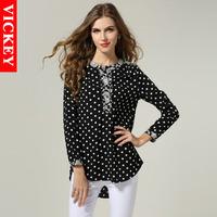 M-5XL XXXXL Plus Size 2014 Autumn New Fashion Retro European Style Chiffon Dots Bottom Long Sleeve Woman's Blusas Femininas V157
