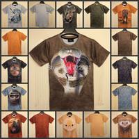 2015 New women/men animal Leopard tiger/cat/pug/panda print funny 3D t shirts Monroe sexy Naked 3d top tee plus size