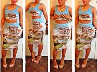 2014 New summer Novelty Print Dress Celebrity Bodycon Dress Sexy 2 pieces Women Bandage dress Sleeveless Slim Club wear Dresses