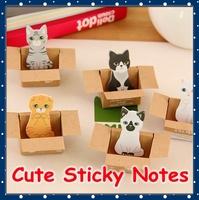 [FORREST SHOP] Kawaii Stationery Cat Sticky Memo Pad / Cute Animal Sticky Notes / Post It Note / Scrapbook Sticker UP-8586