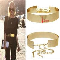 1PC 66cm Women Punk Full Metal Mirror Waist Belt Metallic Gold Plate Wide Cummerbunds With Chains Lady DP671419