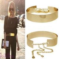 1PC Women Punk Full Metal Mirror Waist Belt Metallic Gold Plate Wide Cummerbunds With Chains Lady BZ671419