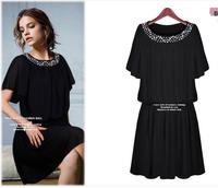 2014 New Summer Women's Plus size(L-5XL) Black/Ivory short-sleeved chiffon dress elegant Europe Style High Quality