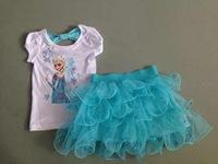 frozen elsa Girls Frozen TUTU skirt+t shirt suits 5sets / lot frozen tutu clothing set  free shipping