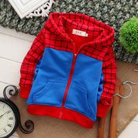 New 2014 spider man children outerwear coat, suitable for 1-4 years children  ,children hoodies