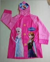 Hot Sales !!! Frozen design raincoat baby girl PVC Princess Elsa & Anna rainwear cartoon rain gear poncho rainsuit Free Shipping