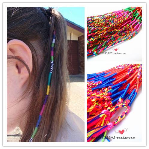 Free Shipping BOHO Multi Color Beauty DIY Hair Wrap Hand Weave Braided Rope Bracelet Wholesale(China (Mainland))