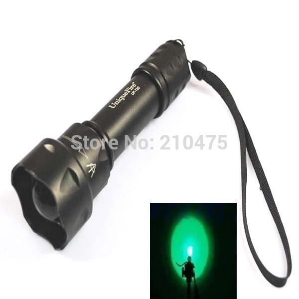 Zoomable levou lanterna lampe torche cree uniquefire uf-t20 q5 vert lumière 3- mode led zoom torche( 1x18650)
