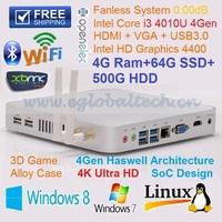 Free Shipping Fanless with WIFI Intel Core i3 3217U Cheap Computer 4GB RAM 64GB SSD 500GB HDD USB3.0port  HDMI 1080P PC