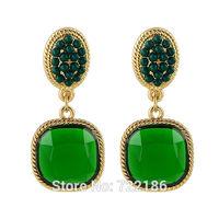 New Design Fashion Green Acrylic Beads Clip Earrings for Fashion Women