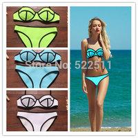 2014 Sexy Women's Push Up Underwire Neon Neoprene Swimwears Triangl MILLY Neoprene Bikinis Neoprene Swimsuit Set Bikini XL 2248