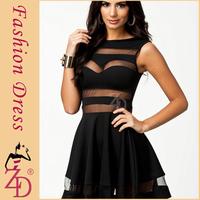Black Sexy Mesh Panel Club Skater Dress Ladies Transparent Mini Party Summer Dresses 2014