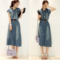 Hot Sale New 2014 Summer Fashion Women Casual Dress Girl Cute Denim Dress Vintage Long Vestido Jeans Plus Size Free Shipping