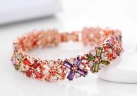 2014 New Top Quality 18K Gold Plated Crossing Multi-color Zircon Bracelet Zircon Gem Bracelets Jewelry Accessories