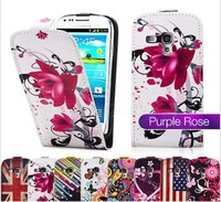Color Butterflies PU LEATHER Cell Phones CASE FOR SAMSUNG GALAXY S3 MINI i8190+1 flim+ FREE 1 STYLUS