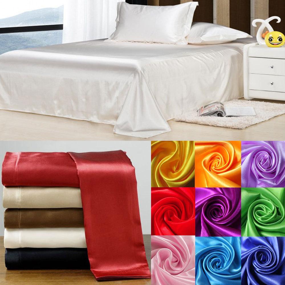 Wholesale!100% Soft skin SATIN SILK BED SHEET PILLOWCASES WEDDING bedding set,sabanas Linens sheets,tencel home textile(China (Mainland))