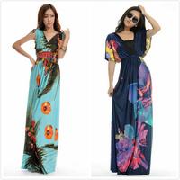 Print Dresses High Street Women V-Neck Floral Printing Bohemia Maxi/Long Summer Beach Women Dress Plus Size M-6XL Free Shipping